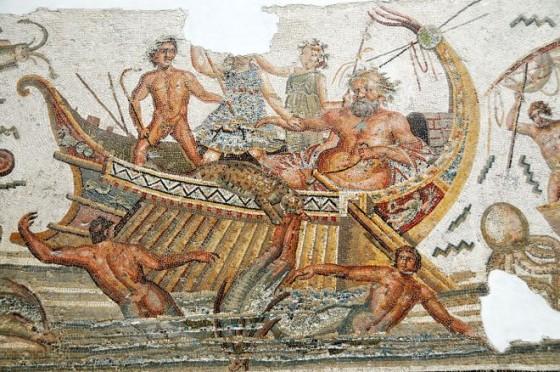פסיפס של אודיסיאוס בספינתו, מוזיאון בתוניסיה